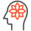 flower, harmony, head, human, mind, relaxation, thinking icon