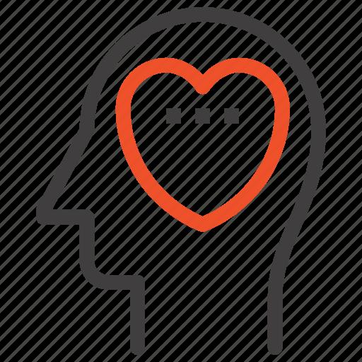 emotions, feeling, head, heart, human, love, mind icon