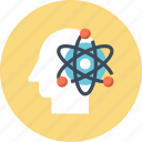 atom, head, human, mind, power, science, thinking icon