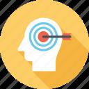 goal, head, human, mind, success, target, thinking