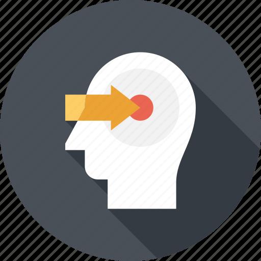 arrow, head, human, knowledge, mind, perception, thinking icon