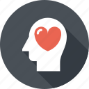 emotions, feeling, head, heart, human, love, mind icon