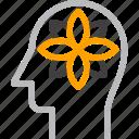 flower, harmony, head, human, mind, relaxation, thinking icon