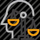 balance, decision, head, human, mind, scales, thinking icon