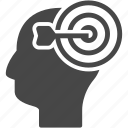 brain, creative, target, thinking, thoughts icon