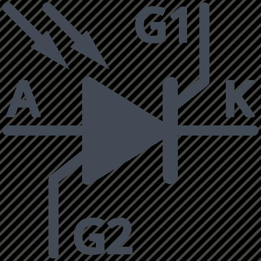 circuit, diagram, electric, electronic, photo-thyristor, thyristor icon