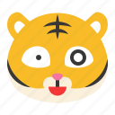 animal, emoji, expression, tiger, wild, wow