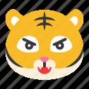 animal, emoji, expression, fight, tiger, wild
