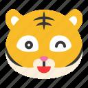 animal, emoji, expression, happy, smile, tiger