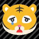 animal, cry, emoji, expression, sad, tiger, wild