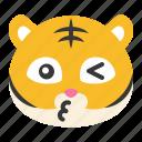 animal, emoji, expression, kiss, tiger, whistling