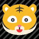 animal, emoji, expression, happy, smile, tiger, wild