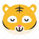 animal, emoji, expression, pleased, relieved, tiger, wild