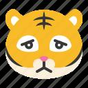 animal, disappointed, emoji, expression, sad, tiger, wild