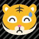 animal, downcast, emoji, expression, sweat, tiger, wild