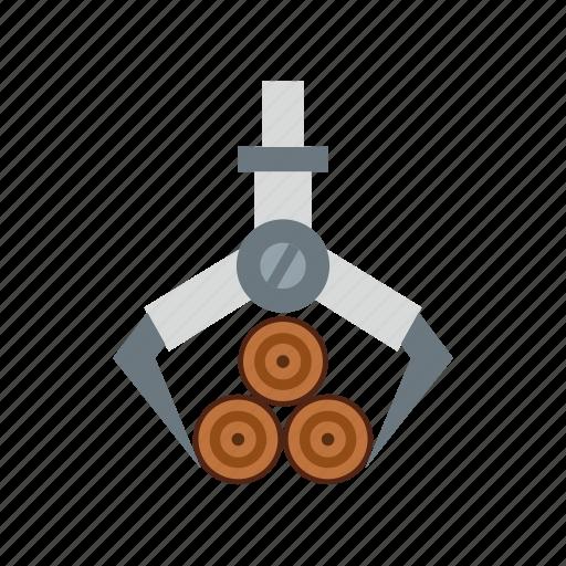 clamp, crane, glass, grab, hydraulic, load, log icon