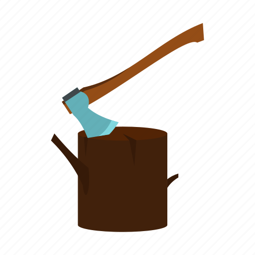 axe, blade, equipment, handle, stump, tool, wood icon