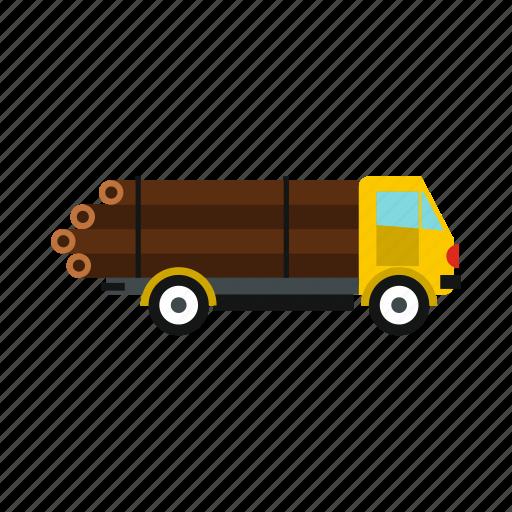 logging, logs, tractor, trailer, truck, wheel, window icon