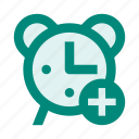 add, alarm, clock, notification, plus, time, watch icon