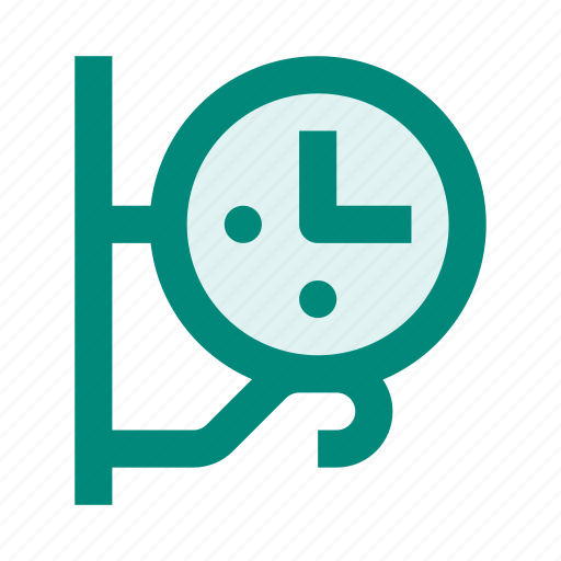 bracket, city, clock, street, time, wall, watch icon