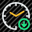 alarm, clock, decrease, down, time, watch icon