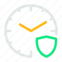 alarm, clock, security, shield, time, watch icon