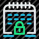 calendar, date, lock, schedule, secure, security icon