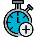 add, chronometer, clock, hour, minute, time icon