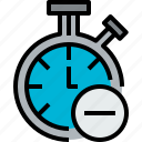 chronometer, clock, hour, minute, remove, time icon