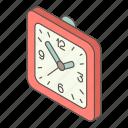 clock, hour, isometric, logo, object, wall, watch