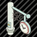 clock, hour, isometric, logo, object, street, watch