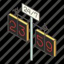 city, clock, isometric, logo, object, street, watch