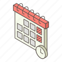 calendar, day, isometric, logo, object, time, year