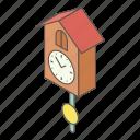 clock, cuckoo, isometric, logo, object, old, vintage