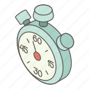 accurate, isometric, logo, object, stop, stopwatch, watch