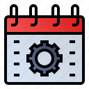 calendar, date, event, gear, schedule icon