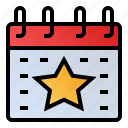 calendar, date, event, schedule, star icon