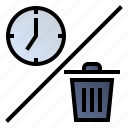 clock, garbage, time, waste icon