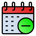 calendar, date, event, minus, schedule icon