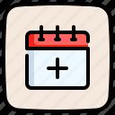 plus, sign, schedule, date, calendar, add