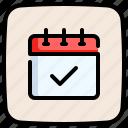 tick, schedule, date, calendar, check