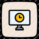 desktop, schedule, watch, screen, clock