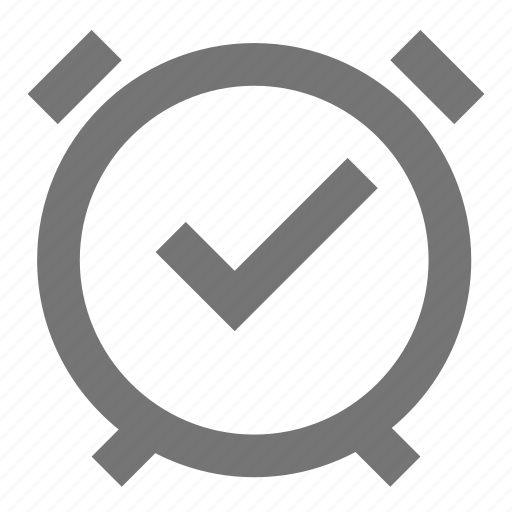 alarm, check, clock, line, material, on, time icon