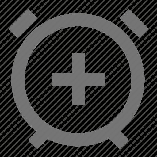 add, alarm, clock, line, material, plus, time icon