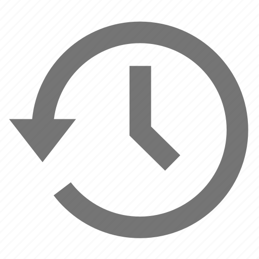 arrow, clock, history, left, material, restore, time icon