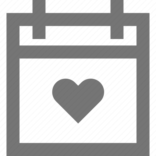calendar, event, heart, holiday, love, material, valentine icon