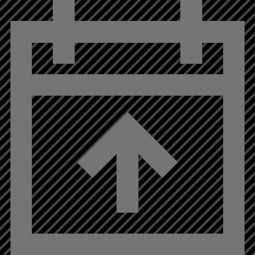 arrow, booking, calendar, departure, material, travel, upload icon