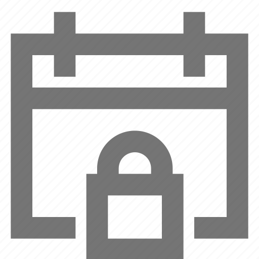 calendar, line, lock, material, protection, security icon