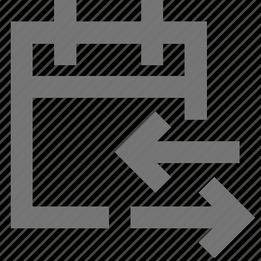 arrows, calendar, exchange, material, share, sync, transfer icon