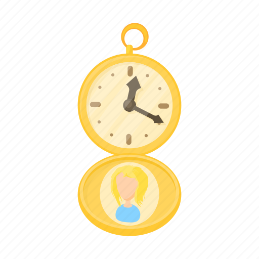 antique, cartoon, clock, gold, pocket, time, watch icon